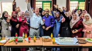 Bret Vlazny Celebrates With English Teachers In The West Bank.