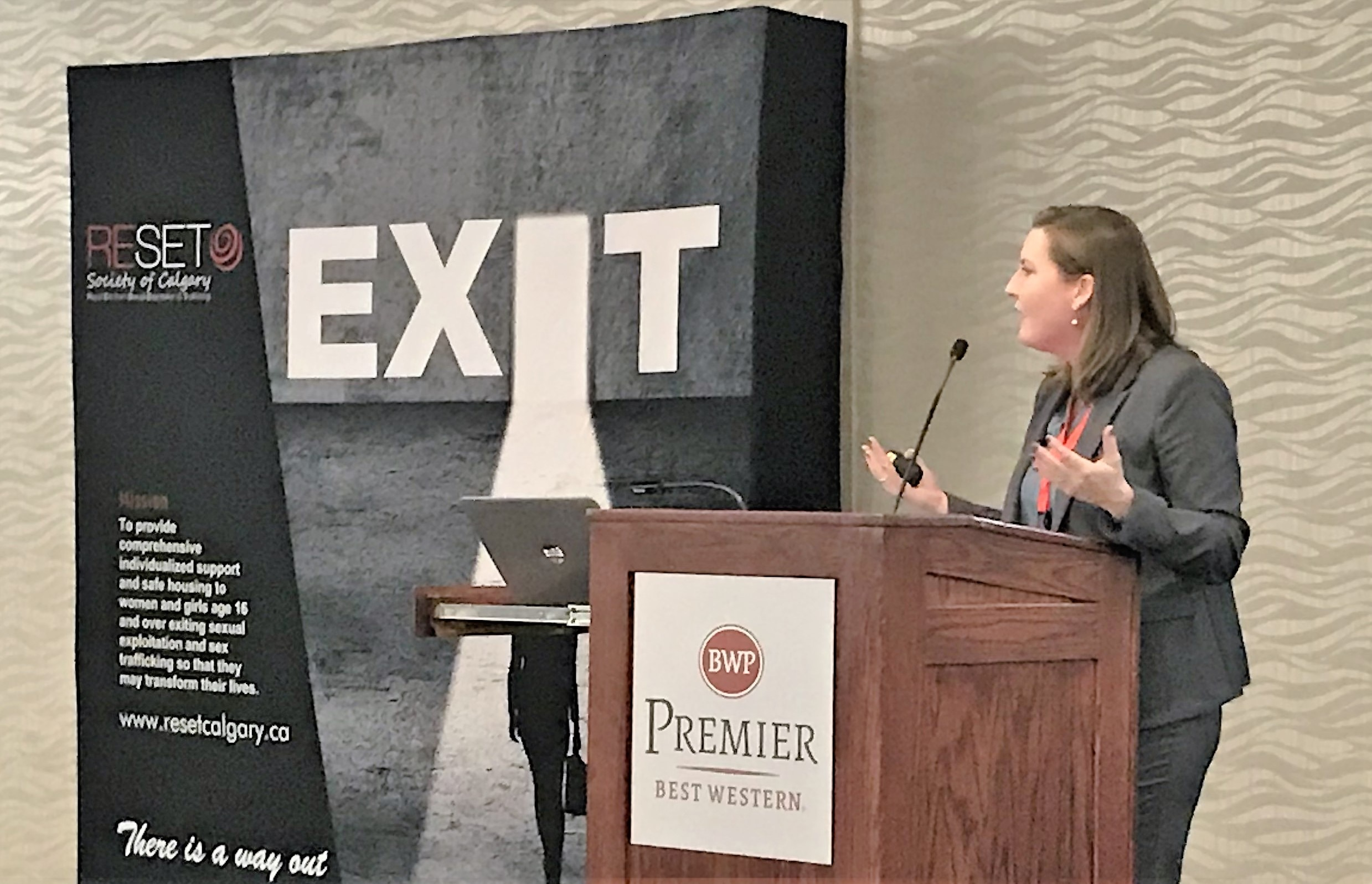 Diplomatic Security Service Special Agent Kate Langston presents at the Sexual Exploitation Training and Awareness Conference in Calgary, Canada, Sept. 24, 2019. (U.S. Department of State photo)