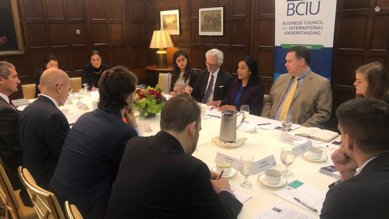 Assistant Secretary of State for Economic and Business Affairs Manisha Singh co-hosts an Innovation Roundtable with the Business Council of International Understanding (BCIU) focused on leveraging Cloud to jump-start new innovative data services.