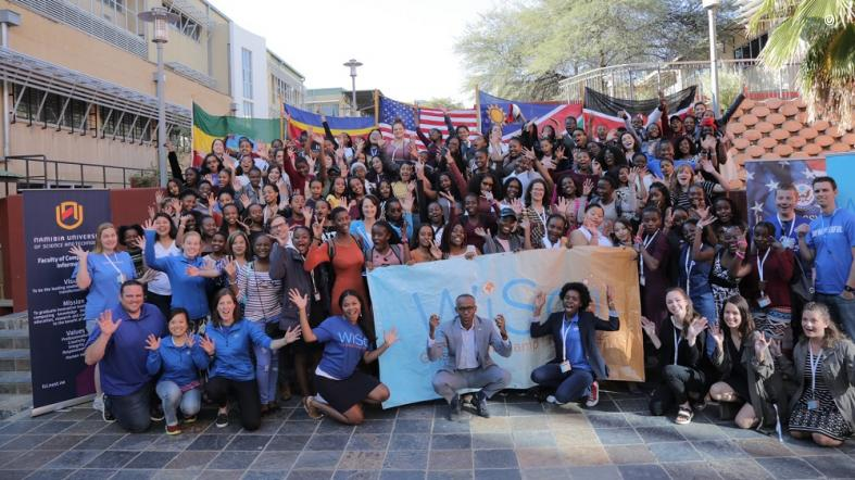 Campers, partners, and mentors gather at WiSci Namibia 2018.