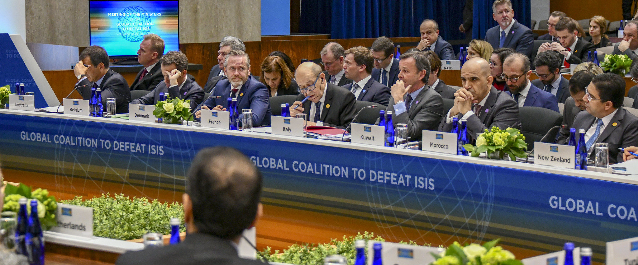 Foreign Ministers Listen on as Secretary Pompeo Delivers Opening Remarks