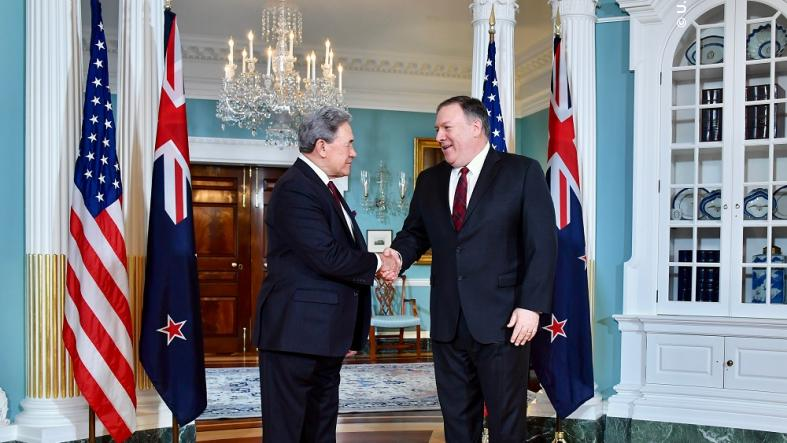 U.S. Secretary of State Michael R. Pompeo meets with New Zealand Deputy Prime Minister and Minister of Foreign Affairs Winston Peters at the U.S. Department of State in Washington, D.C., on December 17, 2018
