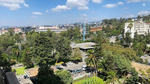 The view from the Hilton hotel after arriving in Addis Ababa.