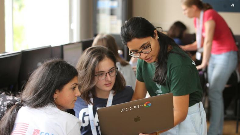 Girls participate in a WiSci (Women in Science) STEAM camp.