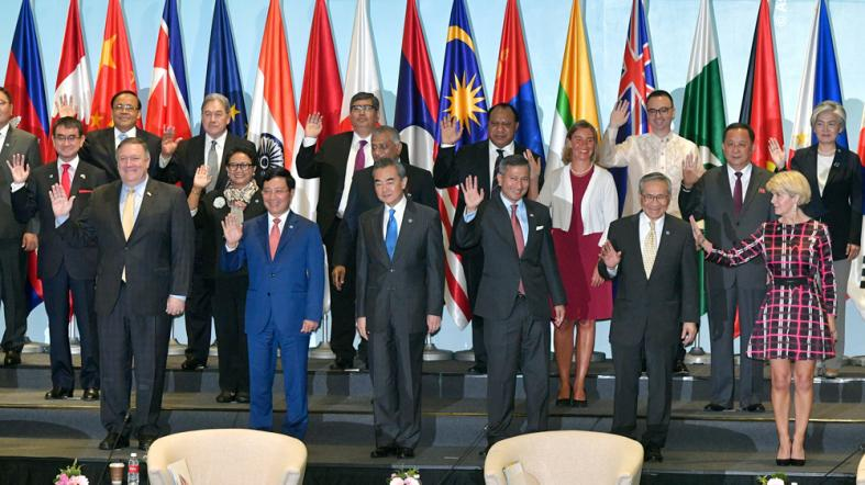 Representatives attending the 25th ASEAN Regional Forum Retreat pose for a group photograph in Singapore on August 4, 2018.