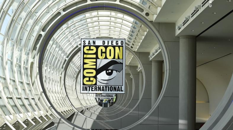 The Comic-Con logo sits above the convention center during a preview night for a Comic-Con International Convention.