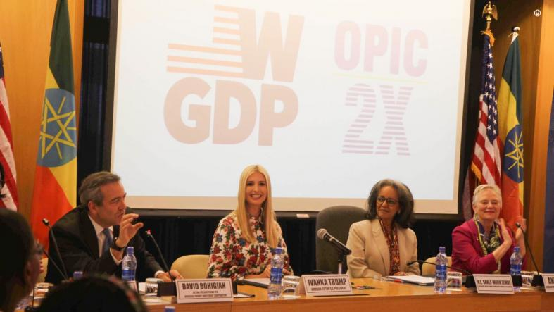 Special Advisor Ivanka Trump and Acting OPIC President David Bohigian announce OPIC will directly invest $350 million to help mobilize $1 billion in capital supporting women-owned, women-led, and women-supporting projects in Sub-Saharan Africa. (OPIC)