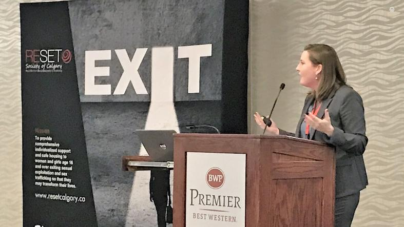 Diplomatic Security Service Special Agent Kate Langston presents at the Sexual Exploitation Training and Awareness Conference in Calgary, Canada, on September 24, 2019. (U.S. Department of State photo)