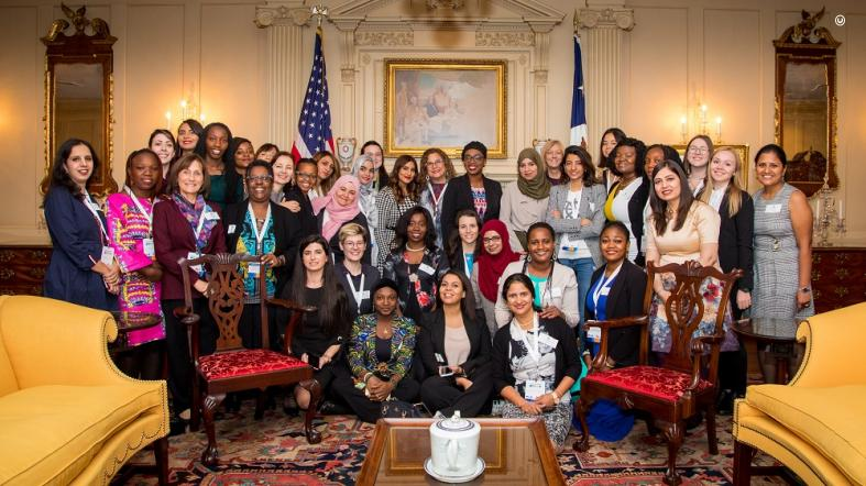 TechWomen participate in a photo opportunity during the closing luncheon at the State Department in Washington, D.C. (State Department photo)