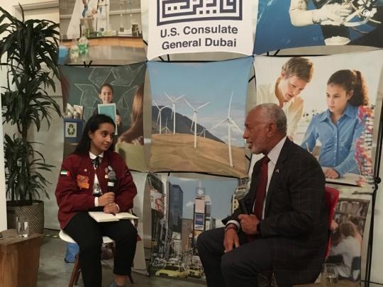 Alia Al-Mansoori, an aspiring teenage Emirati astronaut, interviews U.S. Science Envoy for Space Charlie Bolden.