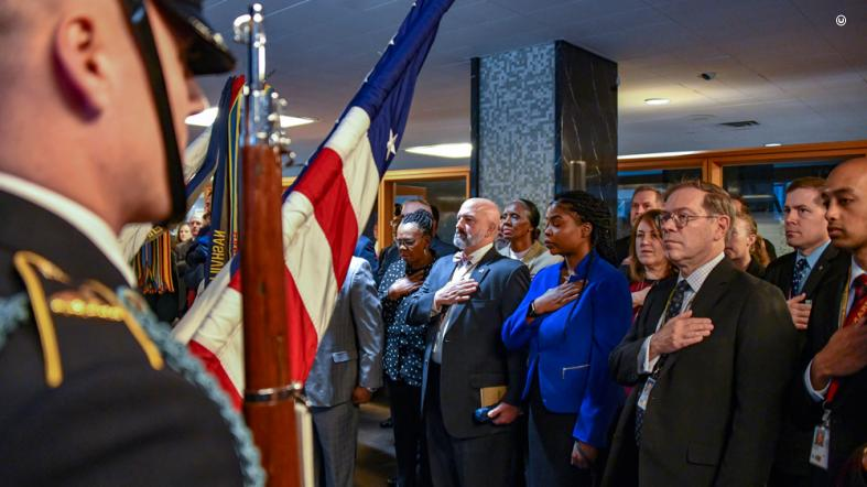 The pledge of allegiance is recited as U.S. Secretary of State Michael R. Pompeo delivers remarks and participated in the annual Veterans Roll Call at the U.S. Department of State in Washington, D.C. on November 9, 2018.