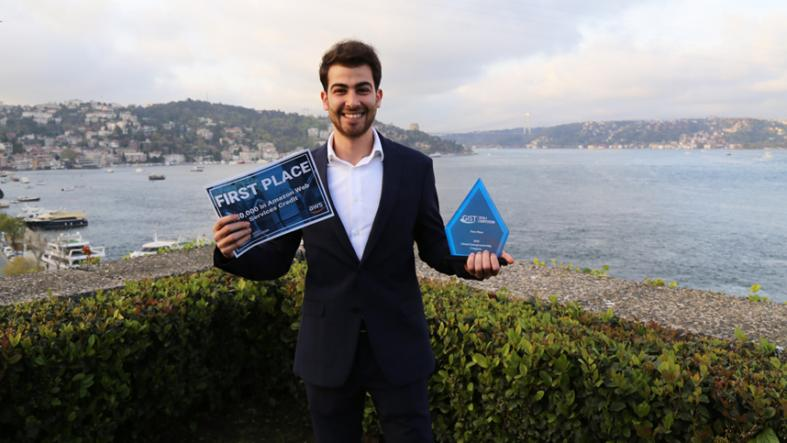 Wassim El Hariri from Lebanon, first place winner of the 2018 GIST Tech-I Pitch Competition