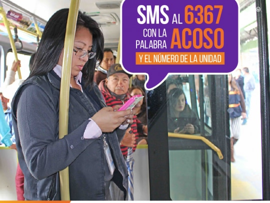 "An example of an advertisement for the ""Bajelo al Acoso"" campaign. Image courtesy of Quito Municipality."