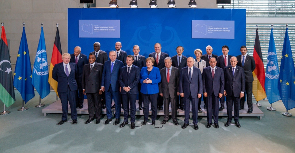 Secretary of State Michael R. Pompeo meets with world leaders at the Libya Summit in Berlin, Germany, on January 19, 2020.