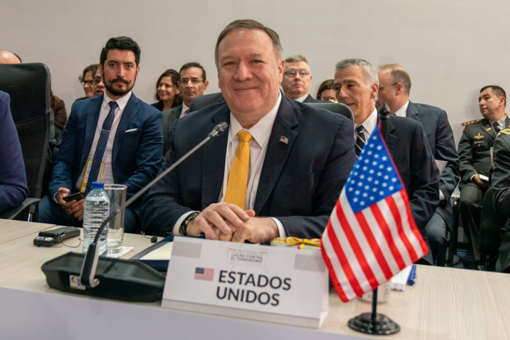 Secretary of State Michael R. Pompeo participates in the Counter Terrorism Ministerial in Bogota, Colombia, on January 20, 2020.
