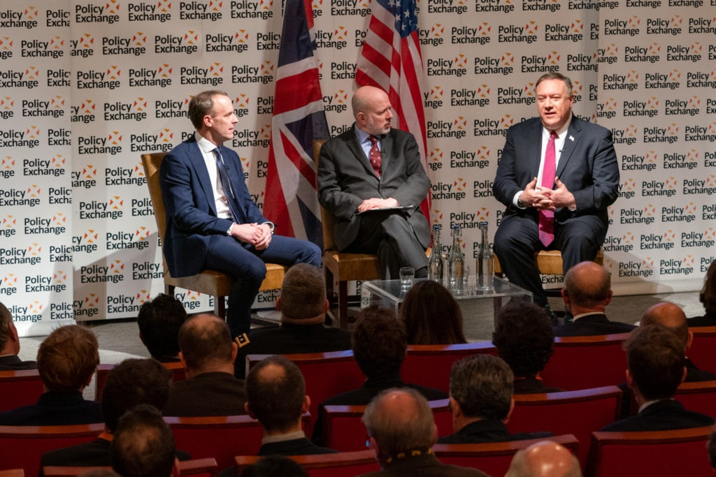 Secretary of State Michael R. Pompeo participates in a public discussion event with United Kingdom Foreign Secretary Dominic Raab, in London, United Kingdom on January 30, 2020. [State Department photo by Ron Przysucha/ Public Domain]