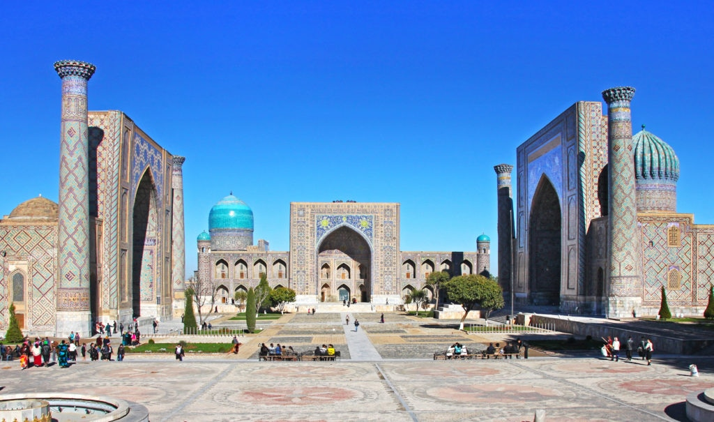 Samarkand, Uzbekistan - NOVEMBER, 10, 2016: The Registan, the heart of the ancient city of Samarkand - Uzbekistan