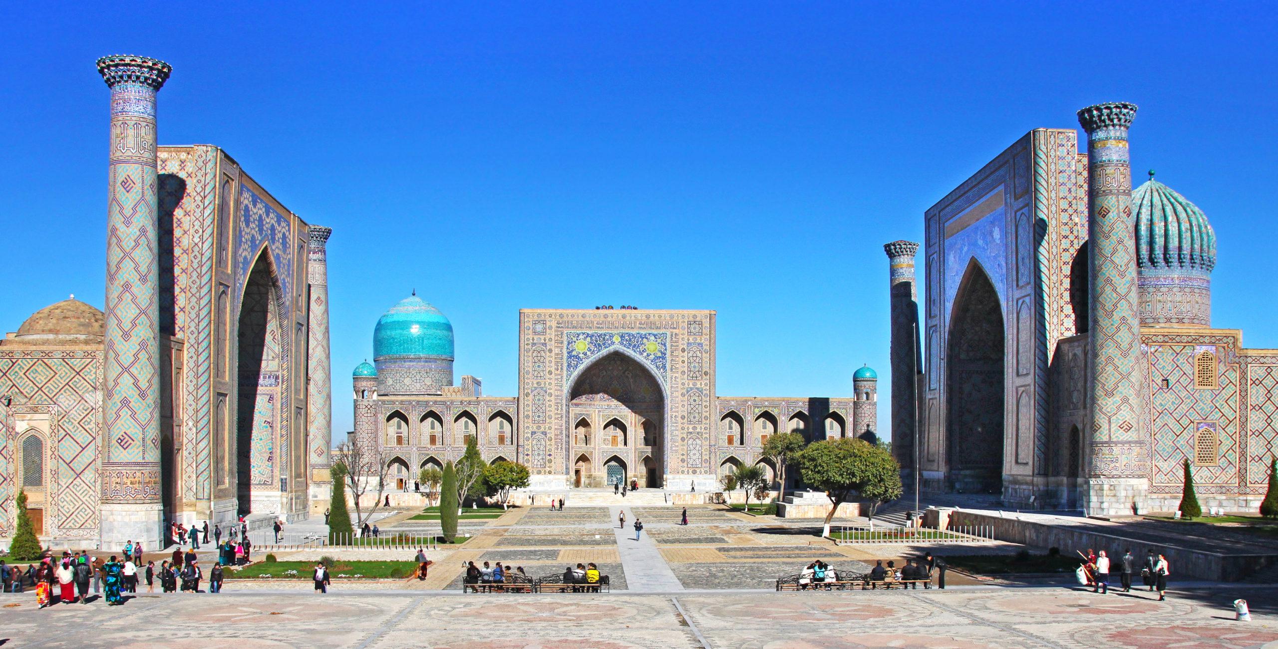 Samarkand, Uzbekistan - NOVEMBER, 10, 2016: The Registan, the heart of the ancient city of Samarkand - Uzbekistan