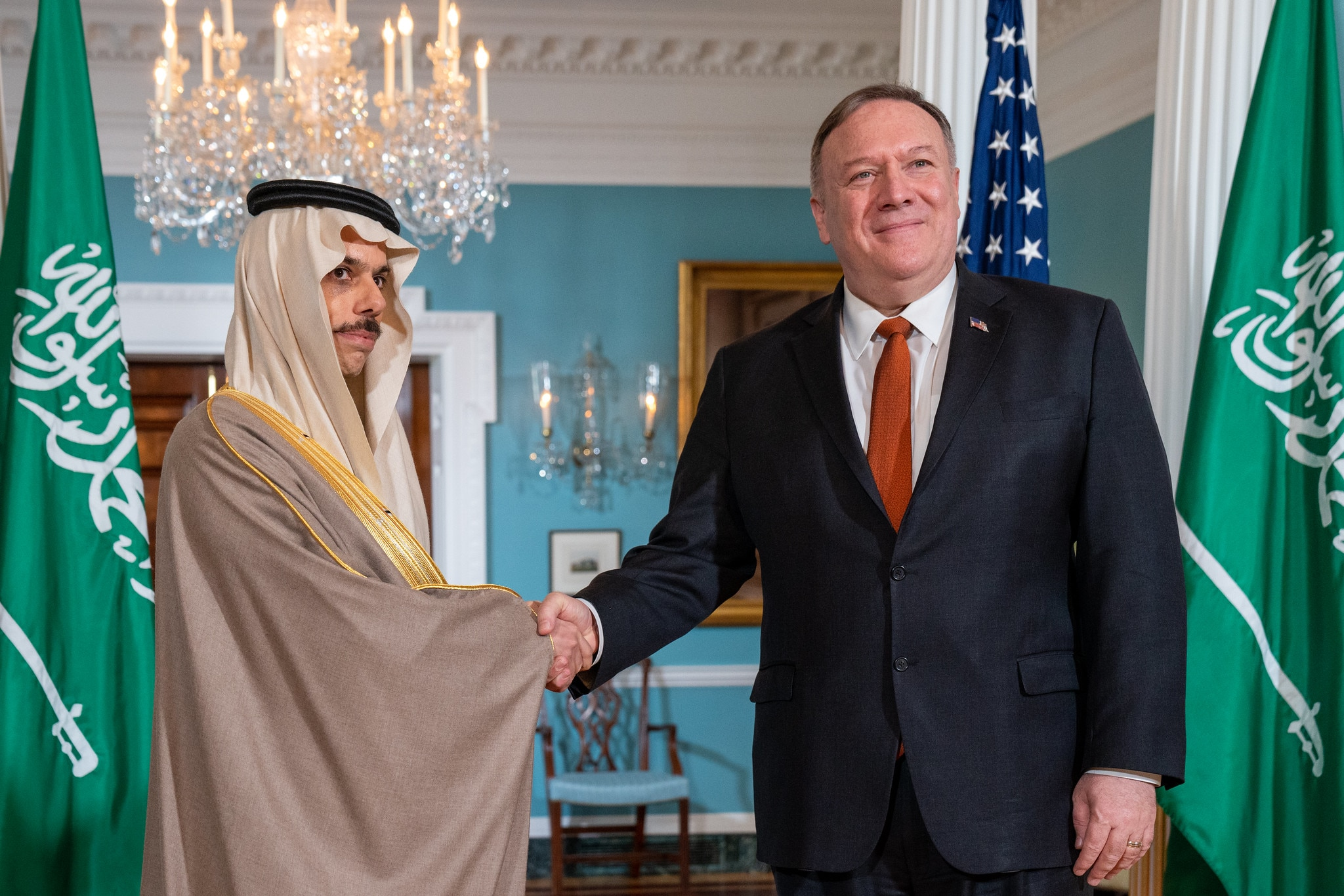 Secretary Michael R. Pompeo meets with His Royal Highness Prince Faisal bin Farhan Al Saud, Minister of Foreign Affairs of the Kingdom of Saudi Arabia, on February 12, 2020 in Washington, DC. [State Department photo by Ron Przysucha/ Public Domain]