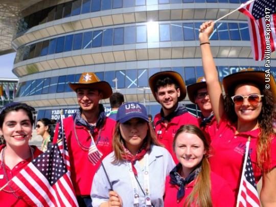 Volunteers at the USA Pavilion Expo 2017 in Astana, Kazakhstan.