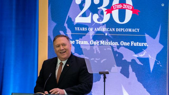U.S. Secretary of State Michael R. Pompeo delivers remarks to State Department Employees on the 230th Anniversary of the Founding of the State Department, on July 29, 2019 at the U.S. Department of State. (State Department Photo by Ron Przysucha)