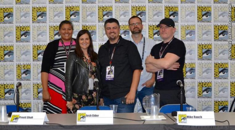 """State Department cultural envoys participate in Comic-Con International: San Diego, the globally renowned comic arts annual convention as part of a panel called """"Comics and Animation Ambassadors to the Rescue."""""""