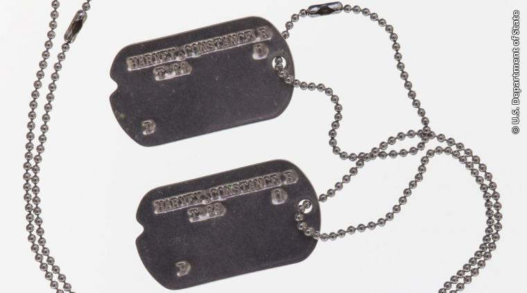 These dog tags belonged to Foreign Service Officer Constance R. Harvey, one of the first women to pass the Foreign Service Test in 1929. Harvey served as the Vice Consul in Lyon, France, and was awarded the Medal of Freedom in 1947 for her service with the French Underground from 1941-1942. During WWII, some non-military personnel who worked with the U.S. Army were issued dog tags.  Gift of the Association for Diplomatic Studies and Training