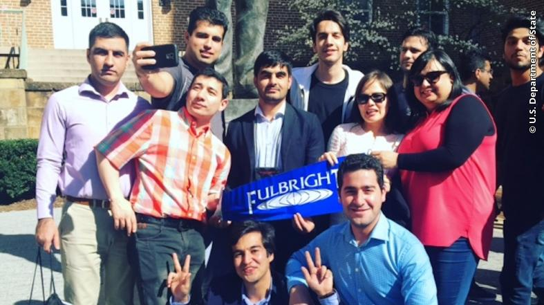Afghan Fulbrighters pose for a photo at the University of Arkansas in Fayetteville in April 2017.