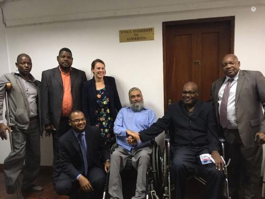 João poses for a group photo at an Inclusive Education Workshop on July 5th, 2019 with YALIs from the SADC region, Education Sector Specialists, NGOs and DPOs and Dr David Gordon (from Wagner College, NY, US).