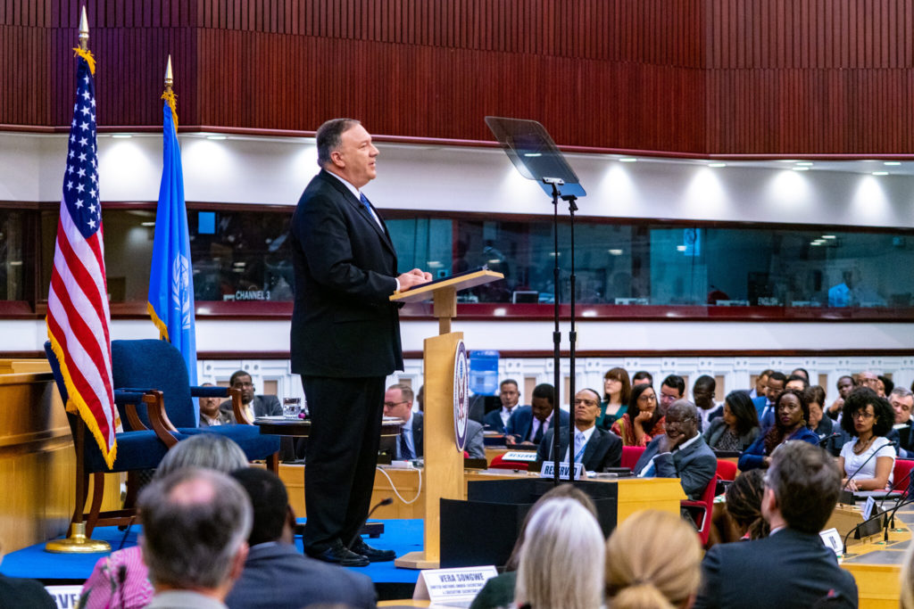 "Secretary of State Michael R. Pompeo delivers a speech on ""Liberating Africa's Entrepreneurs,"" in Addis Ababa, Ethiopia, on February 19, 2020. [State Department Photo by Ron Przysucha/ Public Domain]"