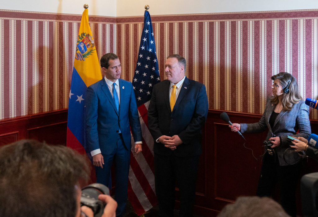 Secretary of State Michael R. Pompeo met with Venezuelan Interim President Juan Guaidó and participated in a joint press availability in Bogotá, Colombia, on January 20, 2020. [State Department Photo by Ron Przysucha/ Public Domain]