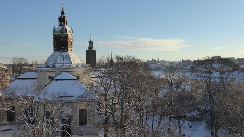 A snowy winter in Stockholm, Sweden.