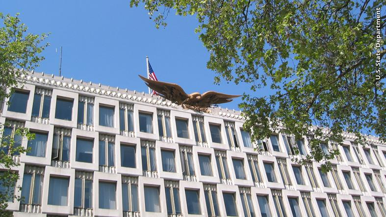 The U.S. Embassy building in London.