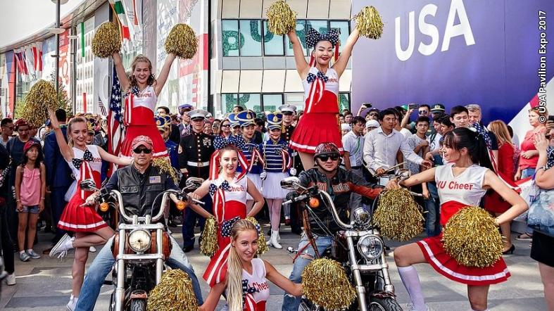 Performers outside of the USA Pavilion at Expo 2017 in Astana, Kazakhstan.