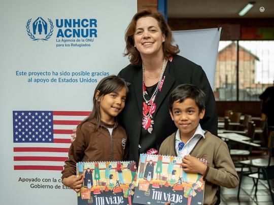 Me with Venezuelan children attending school in Colombia.