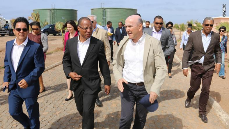 Cabo Verde's Prime Minister José Ulisses de Pina Correia e Silva (front row, center) was among national, local and U.S. officials who joined island of Sal residents at the inauguration of the Santa Maria Wastewater Treatment Plant on March 7.