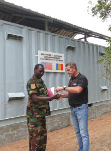A new munitions storage building is handed over to Chad's Nomadic Guard. Photo courtesy of MAG.