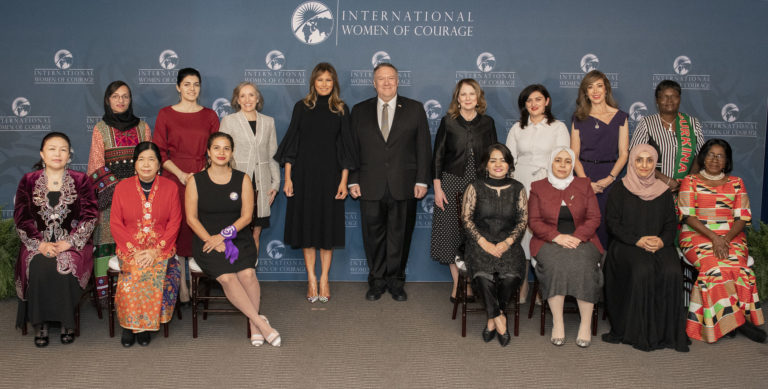 Secretary of State Michael R. Pompeo poses for a photo with First Lady of the United States Melania Trump and the 2020 Annual International Women of Courage awardees, at the Department of State on March 4, 2020. [State Department photo by Freddie Everett/ Public Domain]