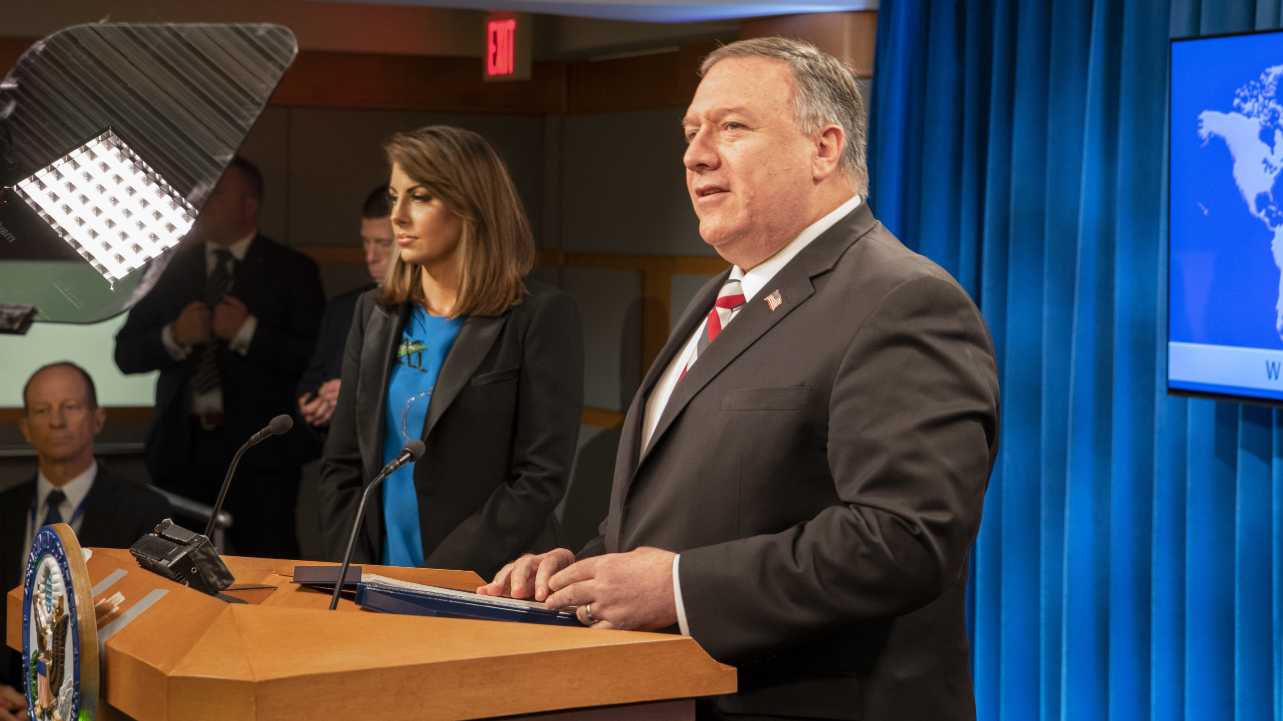 Secretary Pompeo Delivers remarks to the media.