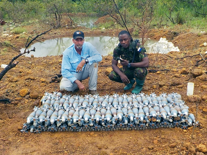 QRF works with Sierra Leonean armed forces to safely dispose of unstable munitions. Photo courtesy of Golden West.
