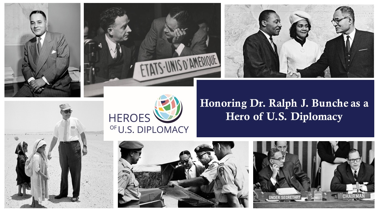 Montage of photos from Ralph J. Bunche's negotiation, mediation and civil rights work.