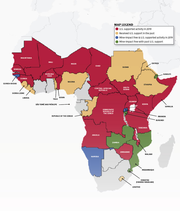 Map of Africa: Red = U.S. supported activity in 2019; Yellow = Received U.S. support in the past; Blue = Mine-impact free & U.S. supported activity in 2019; Green = Mine-impact free with past U.S. support.