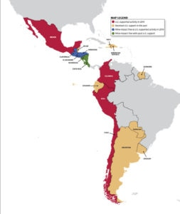 Map of Western Hemisphere: Red = U.S. supported activity in 2019; Yellow = Received U.S. support in the past; Blue = Mine-impact free & U.S. supported activity in 2019; Green = Mine-impact free with past U.S. support.
