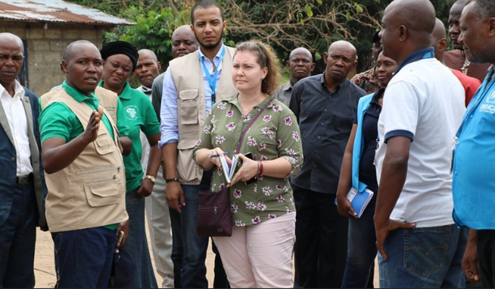 PRM Regional Refugee Coordinator for the Central African Region visits the construction site of the new school of Bouemba in the Republic of Congo, thanks to United States funding. The Congo is hosting some 10,000 asylum seekers who fled the Yumbi area in the DRC.