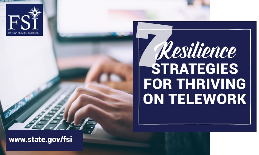"""Graphic with text """"Seven Resilience Strategies for Thriving on Telework"""""""