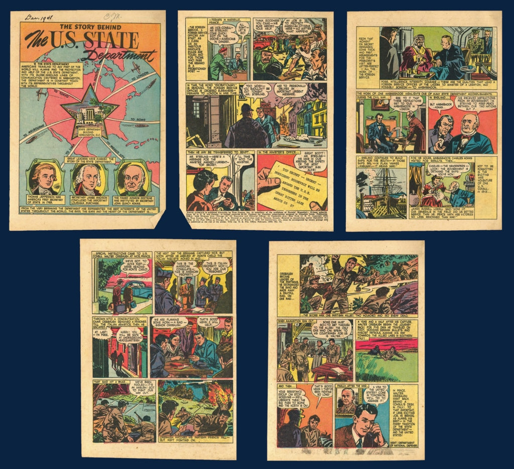 "Photo showing ""The Story Behind the State Department"" comic, from True Comics #75, published February 1949. True Comics was an educational comic book for children that portrayed government and historical figures rather than superheroes. [Department of State]"