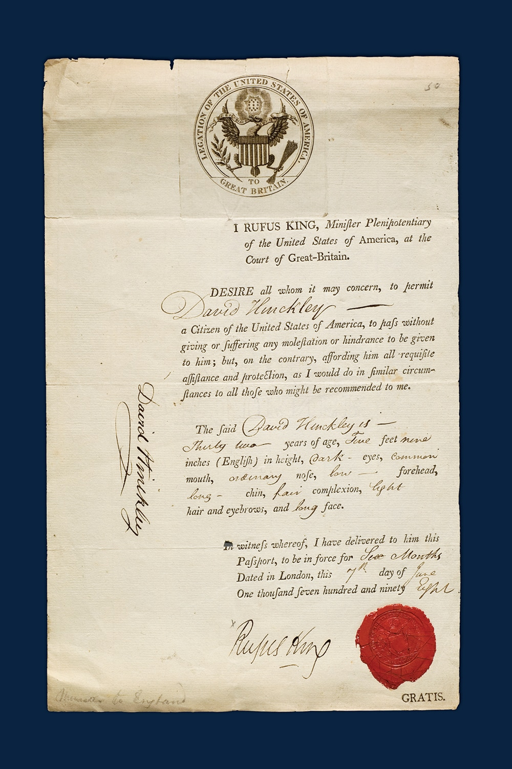 Photo showing a U.S. passport (1798) signed by Minister Rufus King and issued to David Hinckley. [Department of State]
