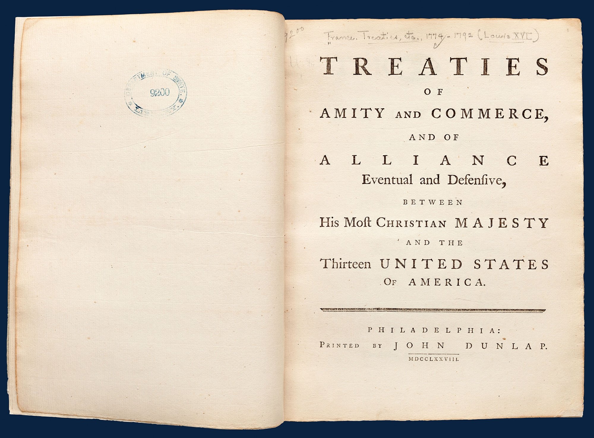 Photo showing a John Dunlap print of the Treaties of Amity and Commerce, and of Alliance with France. Signed in February 1778, these were the first two treaties the United States signed. [Department of State]
