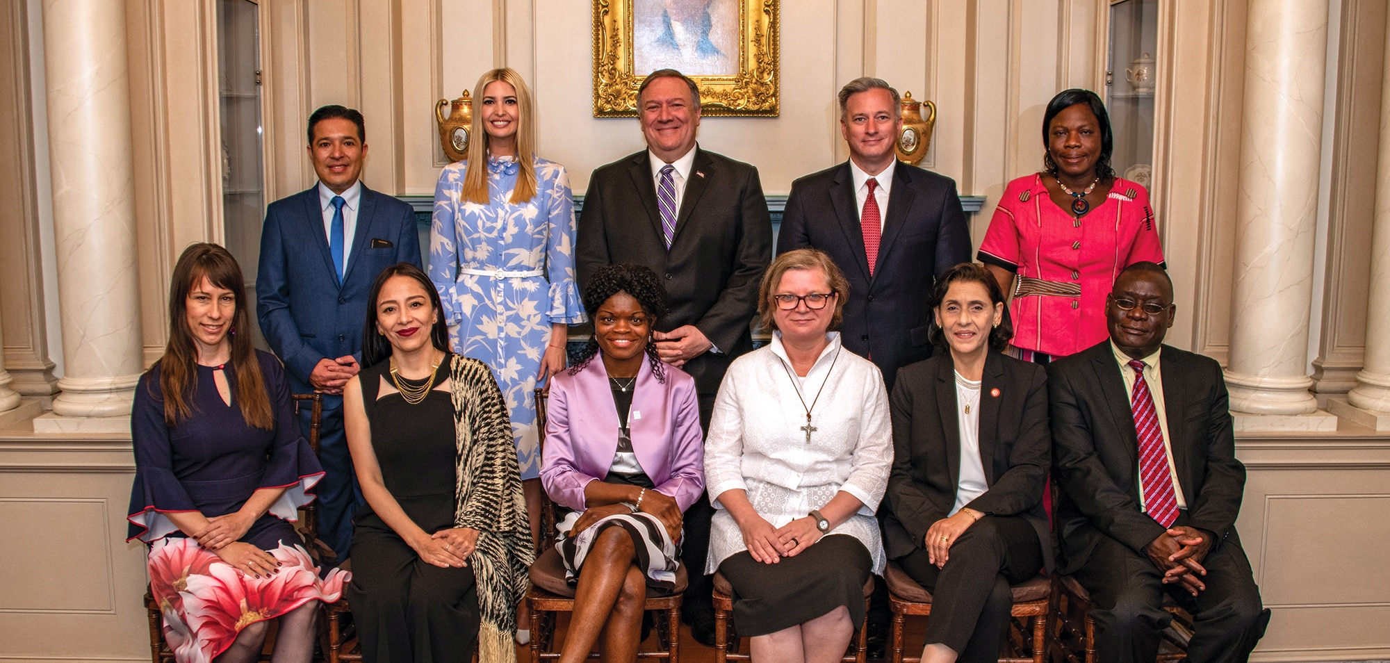 Photo showing Secretary Pompeo, Advisor to the President Ivanka Trump (center left), and Ambassador for Trafficking in Persons John Richmond of the Office to Monitor and Combat Trafficking in Persons (center right) posing with the 2019 'TIP Report Heroes' in Washington, D.C., June 20, 2019. [Department of State]