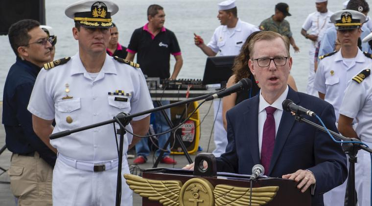 Ambassador Fitzpatrick speaks in Manta, Ecuador during the opening ceremony for the USNS Comfort deployment in support of the Enduring Promise Initiative in June 2019. (U.S. Navy photo)